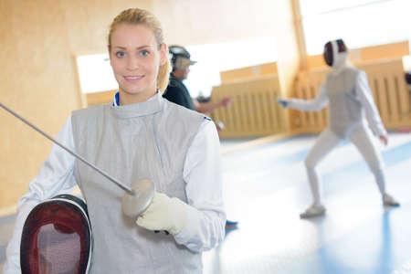 fencing foil: Female fencer