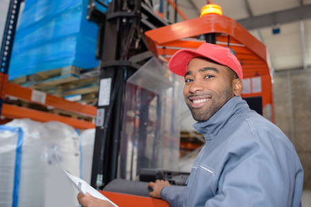 remediation: worker in the loading dock Stock Photo