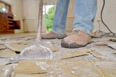 Smashing tiled floor Standard-Bild