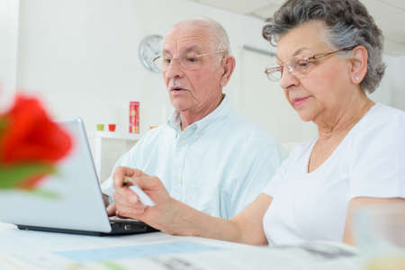daunting: Elderly couple on computer, wife holding credit card