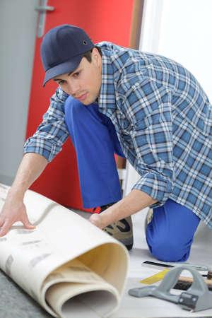 man building contractor floor Stock Photo