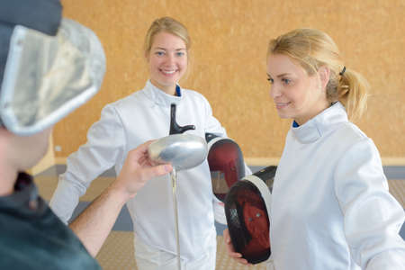 entertainment equipment: trying to do fencing Stock Photo