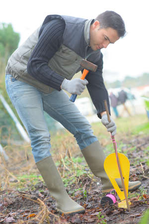 young professionnal gardener putting a post in the earth Stock Photo