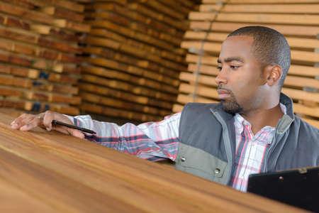 assessing: Man assessing wood Stock Photo