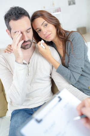 distressed: Distressed couple with therapist