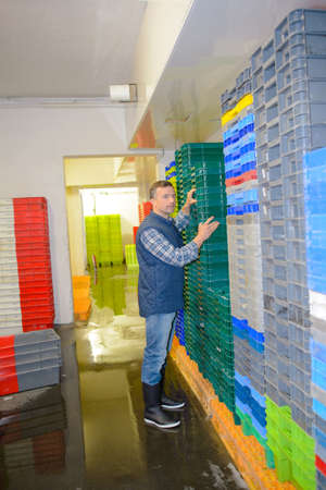 Worker organising stacks of plastic containers