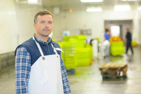 Portrait of man in factory Stock Photo
