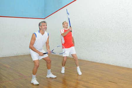 sports club: friends tandem in badminton