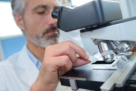 metodo cientifico: mirando a través del microscopio Foto de archivo