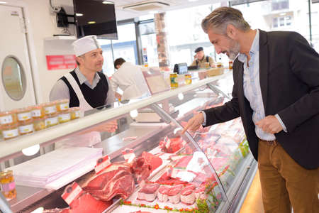 moderation: pointing at a precise meat Stock Photo