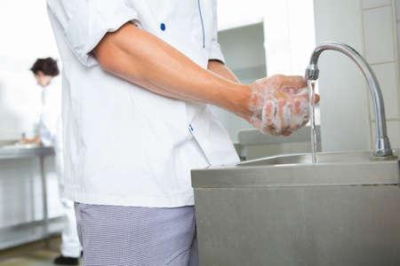 Chef washing hands
