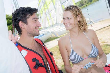flirting around the sails Stock Photo