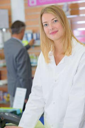 a cashier posing Stock Photo