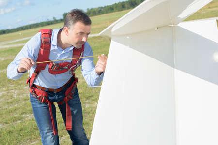 Man preparing glider Stock Photo