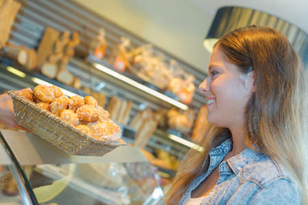 girl and pastry Stock Photo