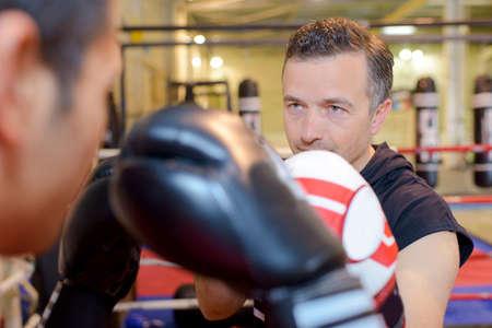 Two men boxing Stock Photo
