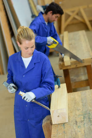 busy person: Young people working with wood
