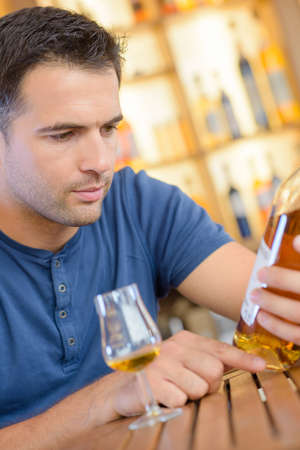 reading a liquor label