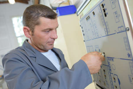 fused: studying the electrical layout Stock Photo