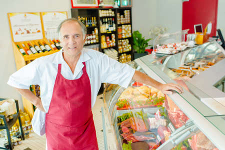 man at work: butcher shop Stock Photo
