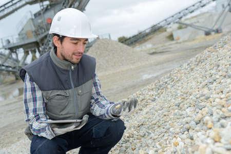 grading the pebbles Stock Photo