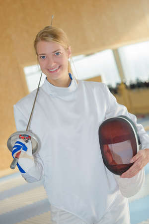footwork: fencing athlete posing Stock Photo
