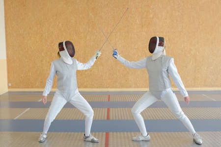 Fencing duel Stock Photo