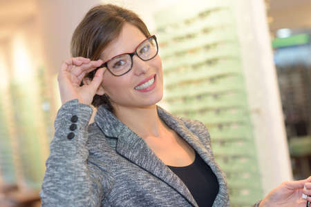 client with new eyeglasses