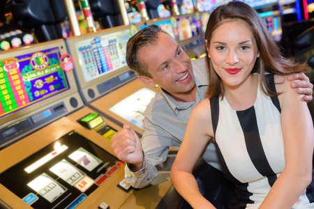 triumphant: Triumphant couple in casino