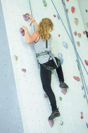 leisure of wall climbing Stock Photo