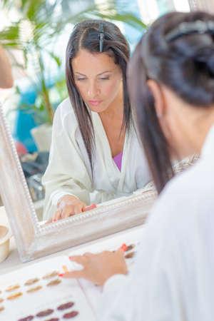 woman in salon Stock Photo