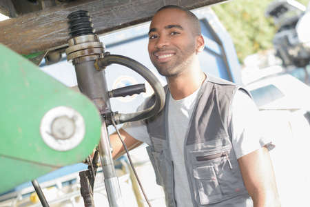 recycles: worker posing confidently Stock Photo