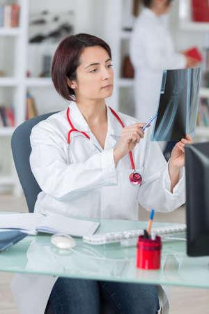 examining patients x-ray