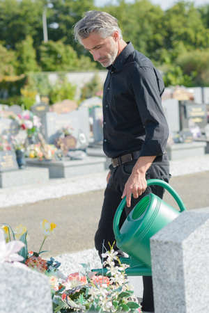 groundskeeper: caretaker of cemetary Stock Photo
