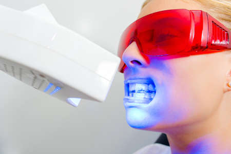 safety googles: open your mouth Stock Photo
