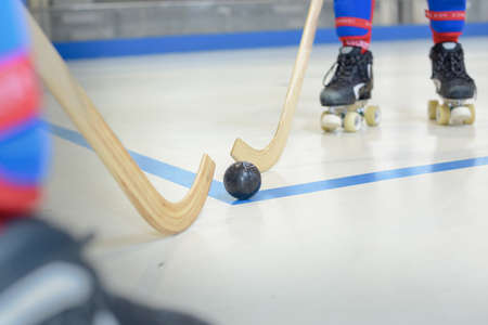 Closeup of roller hockey game Stock Photo