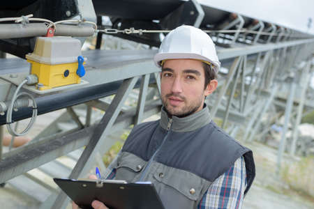 technical department: survey on the factory Stock Photo