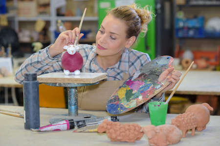 painting the molded sheep Stock Photo