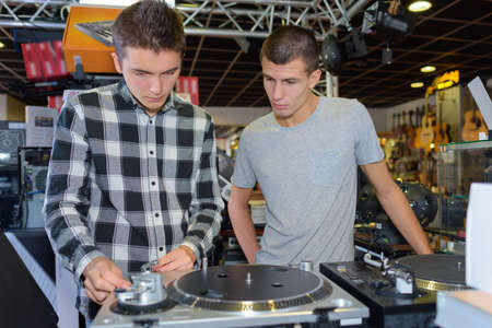 Two young men at decks