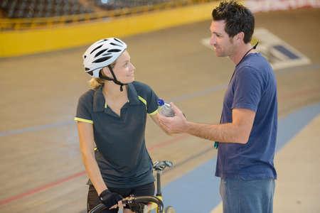 velodrome: conversation on the velodrome Stock Photo
