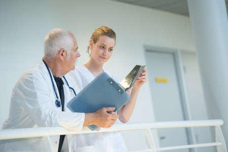 Medical staff on balcony