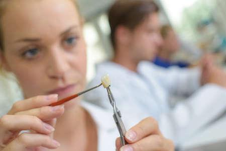 lab tech: Woman adding colour to false tooth