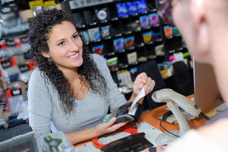 Clerk processing card payment