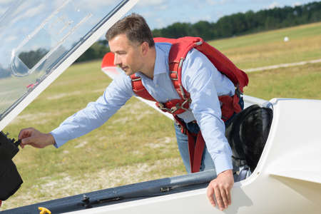 glider pilot ready to control