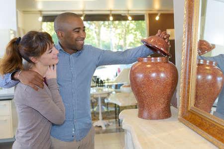crematorium: looking at an urn