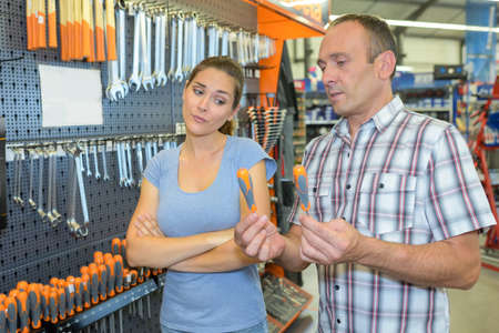 contradict: hardware tools in store Stock Photo