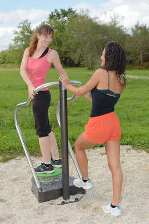 two friends on outdoor exercise