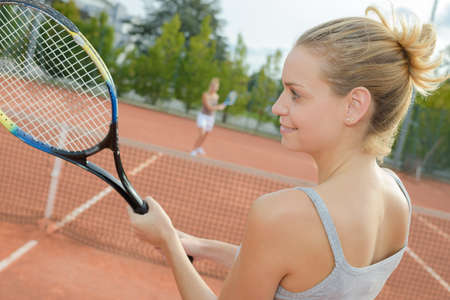 first tennis session Stock Photo