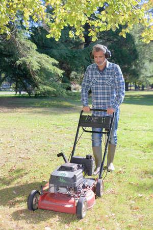 mowing the garden