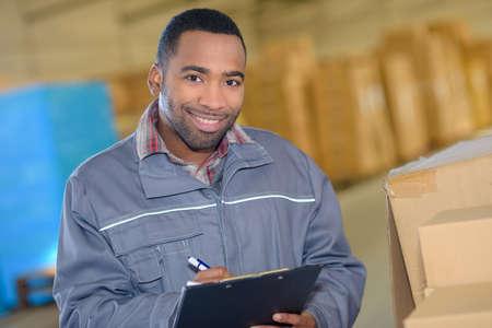 worker taking stock Stock Photo